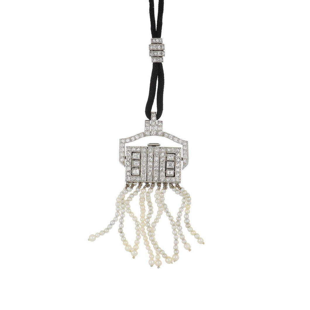 Art Deco Platinum Diamond and Pearl Tassel Watch Necklace