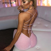 Load image into Gallery viewer, Articat Long Backless Maxi Dress Women Spaghetti Strap High Split Bodycon Bandage