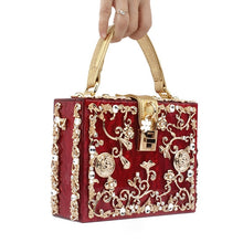 Load image into Gallery viewer, Acrylic Box Evening Bags Women Luxury Flowers Lock Diamonds Stone Pattern Small Square Clutch Shoulder Bag Female Dinner Handbag