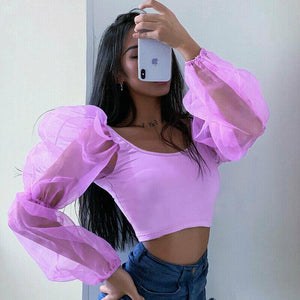 Sexy Puff Long Sleeve Tops Ladies Short Blouses