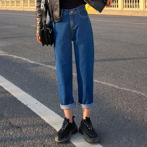 elastic waist mom jeans women