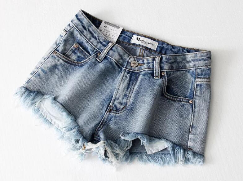 Tassel hem Mini short Denim