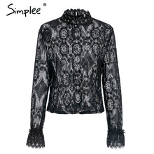 Load image into Gallery viewer, white lace blouse shirt Sexy hollow out embroidery Women long lantern sleeve