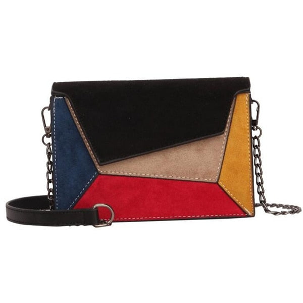 Retro Matte Patchwork Crossbody Bags for Women Messenger Bags Chain Strap Shoulder Bag Lady Small Flap criss-cross Bag