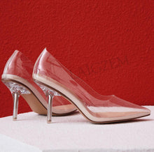 Load image into Gallery viewer, LAIGZEM Kim Kardashian Cinderella Glass Heels Pumps Transparent