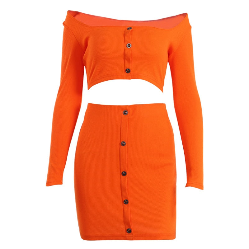 Sexy Off Shoulder Two Piece Set Solid Button Bodycon 2 Piece Set Women Long Sleeve Top And Skirt Summer Autumn Sets