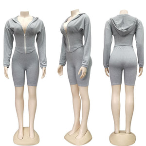 Sexy Deep V Neck Corset Tracksuit Women Casual Hoodie Crop Top with Biker Shorts Bodycon Fitness Sport Lounge Wear Two Piece Set