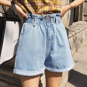 LYZCR Vintage Loose Denim Shorts Women Summer 2020 High