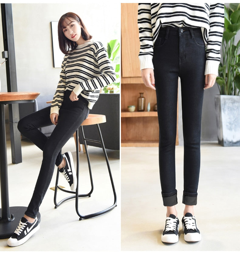 Skinny Jeans woman High waist ladies Stretch Denim Pencil Pants trousers