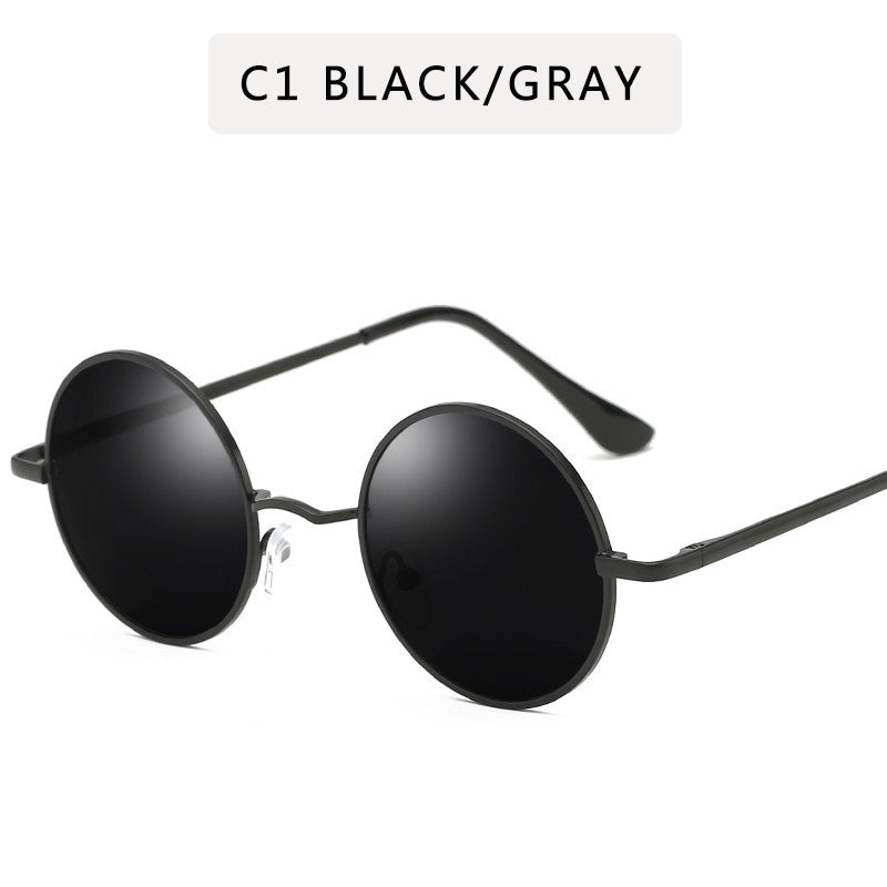 Retro Punk Style Round Polarized Sunglasses Women