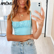 Load image into Gallery viewer, Candy Color Camis Streetwear Tube Women Summer Ruched Pleated Short Tank Tops 90s Cool Girls Sexy Slim Crop Top Tees