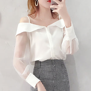 Chiffon Shirt Transparent Mesh Sleeve Slash Shoulder Spaghetti Tops 2019 Fall Buttoned Up Blouse For Women Fashion Shirt