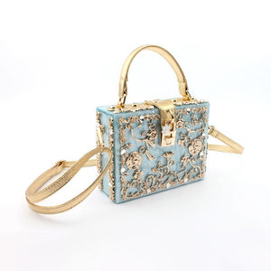 Acrylic Box Evening Bags Women Luxury Flowers Lock Diamonds Stone Pattern Small Square Clutch Shoulder Bag Female Dinner Handbag