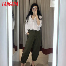 Load image into Gallery viewer, women amygreen Chic mom jeans pants boyfriend style long trousers pockets zipper loose casual female denim pants 4M108