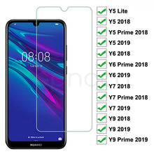 Load image into Gallery viewer, 9H Tempered Glass For Huawei Y5 Lite Y5 Y6 Y7 Prime 2018 2019 Screen Protector Y9 2018 Prime 2019 Safety Protective Glass Film