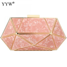 Load image into Gallery viewer, Rose Gold Acrylic Geometric Clutch Bag Designer Clutches Purse Prom Night Out Party Formal Ladies Marble Wedding Purse White Sac