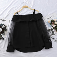 Load image into Gallery viewer, Chiffon Shirt Transparent Mesh Sleeve Slash Shoulder Spaghetti Tops 2019 Fall Buttoned Up Blouse For Women Fashion Shirt