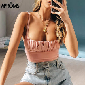 Candy Color Camis Streetwear Tube Women Summer Ruched Pleated Short Tank Tops 90s Cool Girls Sexy Slim Crop Top Tees