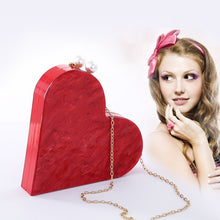 Load image into Gallery viewer, Unique Designer Acrylic Clutch Fashion Cute Red Heart Shape Pearl Chain Party Evening bag Women Shoulder Bags Hot Handbag Purses