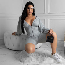 Load image into Gallery viewer, Sexy Deep V Neck Corset Tracksuit Women Casual Hoodie Crop Top with Biker Shorts Bodycon Fitness Sport Lounge Wear Two Piece Set