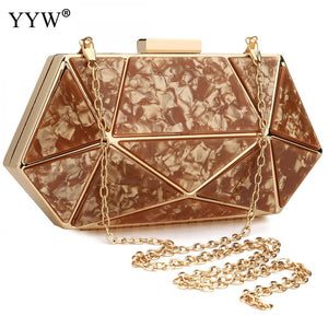 Rose Gold Acrylic Geometric Clutch Bag Designer Clutches Purse Prom Night Out Party Formal Ladies Marble Wedding Purse White Sac