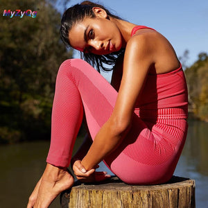 Knitted Seamless High Waist Women Yoga Suit Fitness Set Sports Running Set Tracksuit Gym Sportswear Leggings Tight Workout