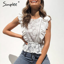 Load image into Gallery viewer, Lace embroidery women tank tops Ruffled hollow out o-neck peplum tops female summer style Streetwear ladies white tops