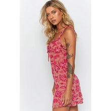 Load image into Gallery viewer, High Waist Pink Floral Mini Dresses