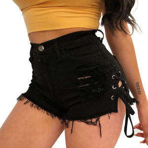 Black Lace-up Destroy Ripped Denim Shorts Summer  Casual Jean Short