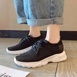 Small white shoes female summer flat with lace fly woven single shoes girls sports shoes thick breathable women's shoes