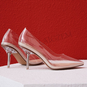 LAIGZEM Kim Kardashian Cinderella Glass Heels Pumps Transparent