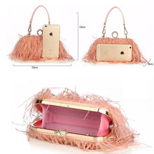 Load image into Gallery viewer, Designer Ostrich Fur Feather Wallet Clutch Bag Women Clutch Diamond Knuckle Rings Dinner Evening Bag Chain Purse ZD855