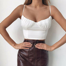 Load image into Gallery viewer, Hot summer women lady camis fashion Sleeveless Push-up Cropped vest top Sexy Club Bandage Casual backless solid white black