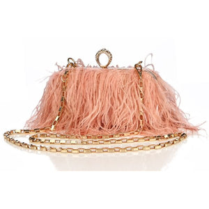 Designer Ostrich Fur Feather Wallet Clutch Bag Women Clutch Diamond Knuckle Rings Dinner Evening Bag Chain Purse ZD855