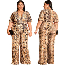 Load image into Gallery viewer, Summer Women's Casual Style Straight Jumpsuit Long Pant Short Sleeves Sexy V-neck Snakeskin Jumpsuit with Belt Plus Size