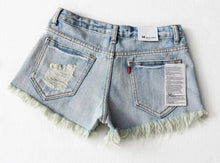 Load image into Gallery viewer, Tassel hem Mini short Denim