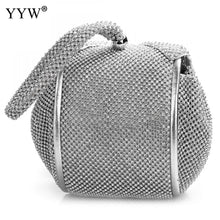 Load image into Gallery viewer, Fashion Pu Leather Clutch Bags Of Women Solid Casual Women Small Bag Silver Gold Rhinestone Party Evening Bag Bolsa Feminina