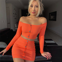 Load image into Gallery viewer, Sexy Off Shoulder Two Piece Set Solid Button Bodycon 2 Piece Set Women Long Sleeve Top And Skirt Summer Autumn Sets