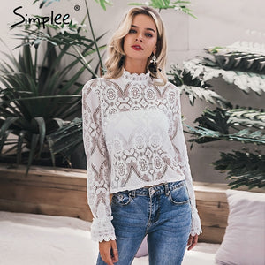 white lace blouse shirt Sexy hollow out embroidery Women long lantern sleeve