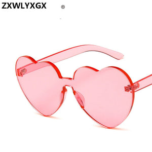 New Fashion cute sexy retro Love Heart Rimless Sunglasses Women Luxury Brand Designer Sun glasses Eyewear Candy Color UV400