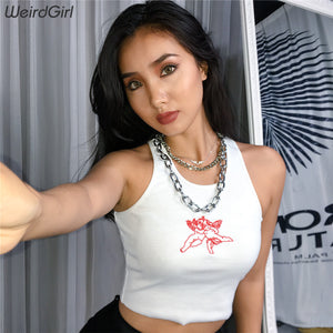 women tank tops casual fitness angel o-neck sleeveless short female vest croped tops white off shoulder streetwear