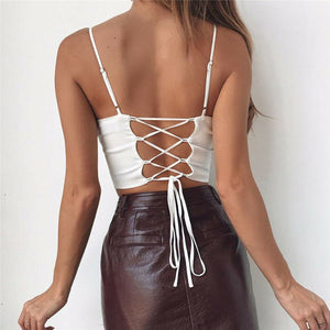 Hot summer women lady camis fashion Sleeveless Push-up Cropped vest top Sexy Club Bandage Casual backless solid white black