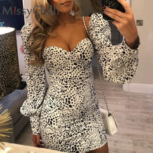 Load image into Gallery viewer, White leopard print backless party dress Women lantern sleeve sexy spring dress Elegant bodycon fashion mini dress