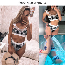 Load image into Gallery viewer, High waist swimsuit female Plaid mesh bikini set Ruffle