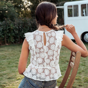 Lace embroidery women tank tops Ruffled hollow out o-neck peplum tops female summer style Streetwear ladies white tops