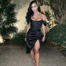 Load image into Gallery viewer, BlackOff Shoulder Sexy Dress  High Split