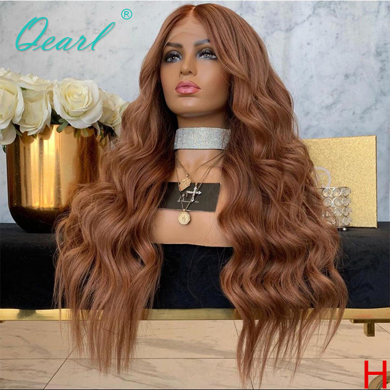 Human Hair Lace Front Wig 400% Density 13x4 Malaysian Remy Wavy Lace Wigs 14