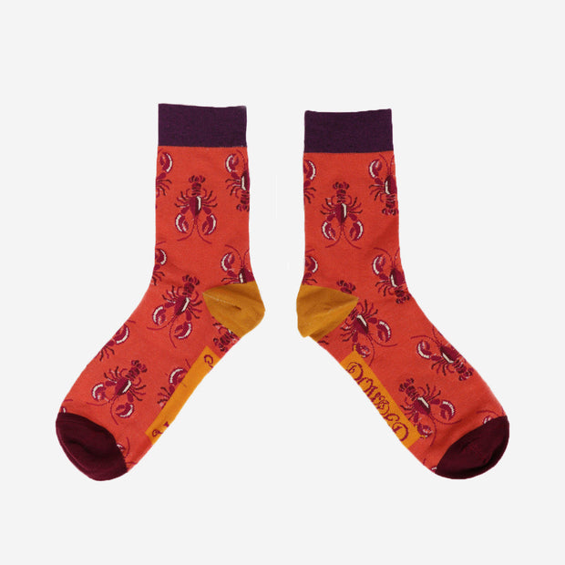 MENS LOBSTER ANKLE SOCKS - TANGERINE