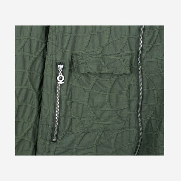 BUBBLE JACKET WITH ZIP DETAIL IN ARMY