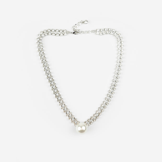CRYSTAL AND PEARL NECKLACE - SILVER